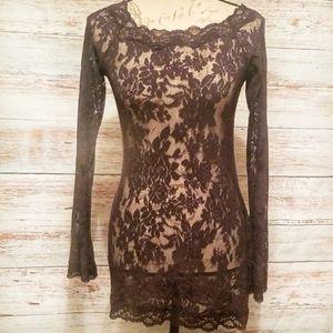 Victoria's secret Dress Lingerie Black.Floral Med